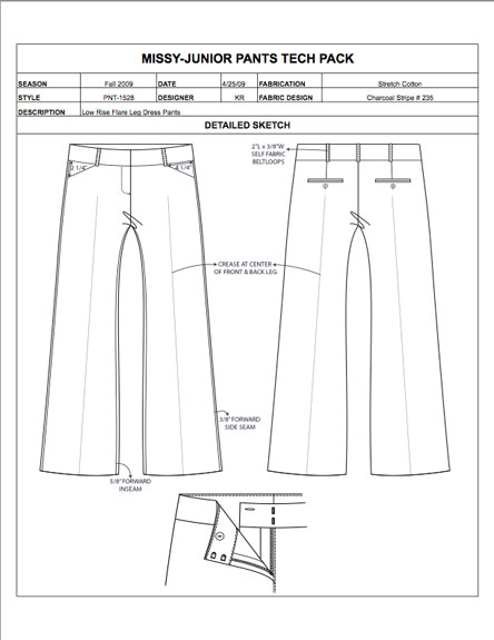 Fashion Apparel Tech Pack Templates My Practical Skills My Practical Skills