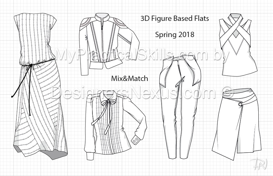 3D based flat fashion sketches